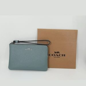 COACH Corner Zip Wristlet Crossgrain Leather, Sage